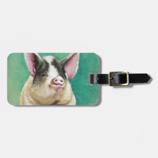 happy pig in pastel animal painting luggage tag