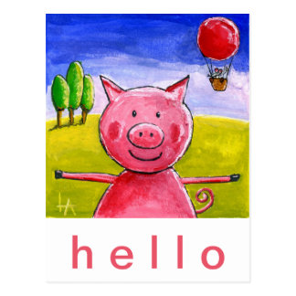 Happy Pig Postcard