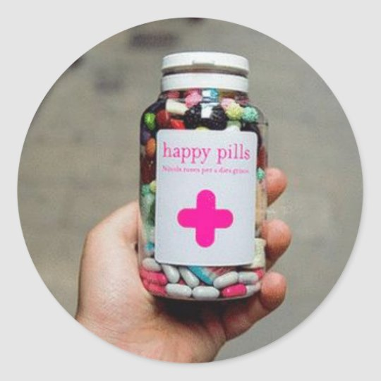 Happy Pills Classic Round Sticker