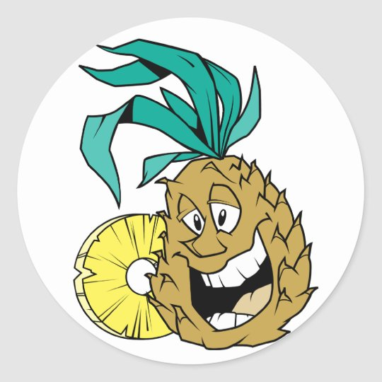 Happy Pineapple Classic Round Sticker