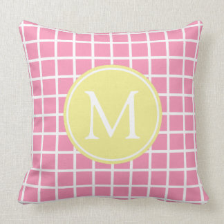 Happy Pink and Butter Yellow Lattice Monogram Throw Pillow