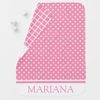 Happy Pink and White Dots and Checks Personalized Baby Blanket