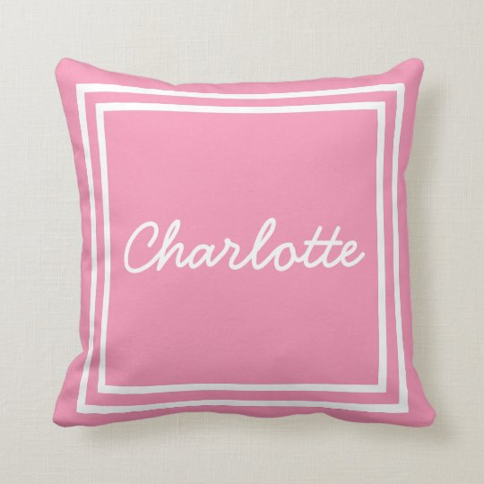 Happy Pink and White Frame Personalized Throw Pillow