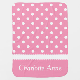 Happy Pink and White Polka Dot Personalized Baby Blanket