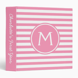 Happy Pink and White Stripe Memory Album Binder