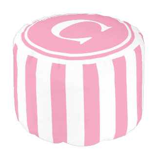 Happy Pink and White Stripes Monogram Pouf