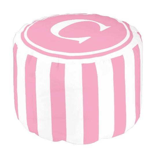 Happy Pink and White Stripes Monogram Pouf