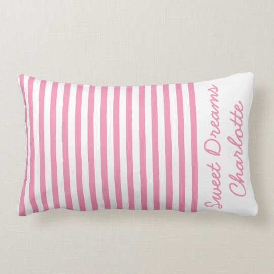 Happy Pink and White Stripes Personalized Lumbar Pillow