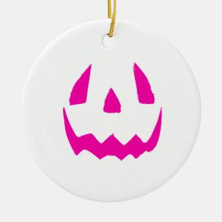 Happy Pink Halloween Round Ceramic Ornament