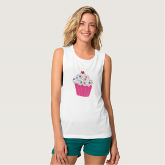 Happy Pink Heart Cupcake - Sweet Bakery Art Tank Top