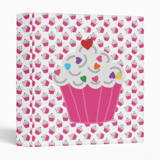 Happy Pink Heart Cupcakes - Sweet Bakery Pattern Binder
