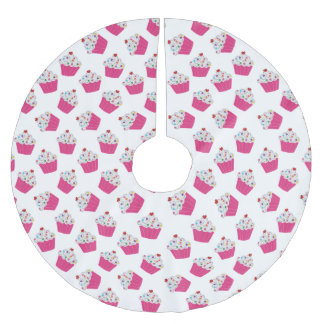 Happy Pink Heart Cupcakes - Sweet Bakery Pattern Brushed Polyester Tree Skirt