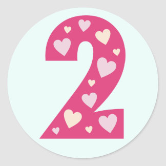 Happy Pink Hearts Number 2 Birthday Stickers