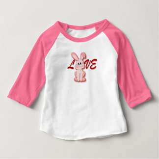 Happy Pink Hopping Rabbit for Easter Bunny Holiday Baby T-Shirt