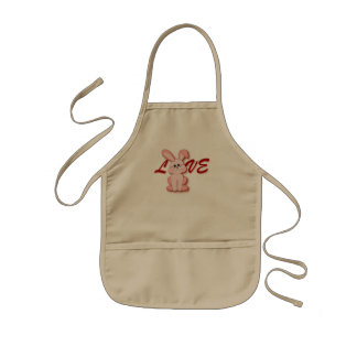 Happy Pink Hopping Rabbit for Easter Bunny Holiday Kids Apron