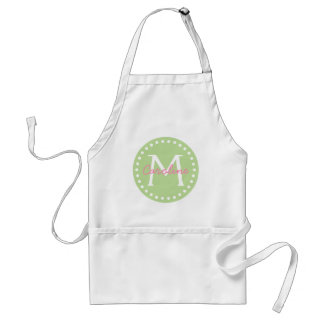 Happy Pink on Mint Green Monogram Standard Apron