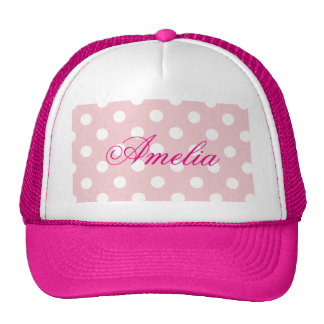 Happy ,pink, polka dot,white,girly,country,chic trucker hat