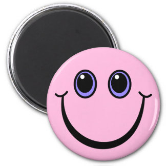 Happy Pink Smiley Face 2 Inch Round Magnet