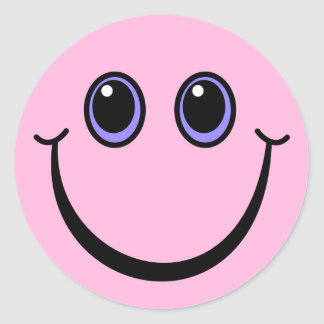 Happy Pink Smiley Face Classic Round Sticker