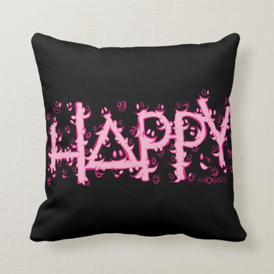 HAPPY pink Throw Pillow