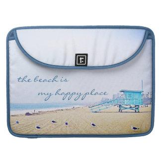 """Happy place"" aqua beach photo Macbook Pro sleeve"
