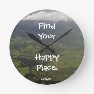 Happy Place Ecuador Landscape Round Clock