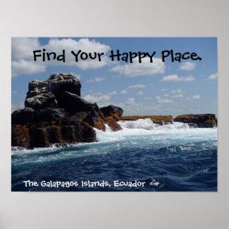 Happy Place Galapagos Rocks Ecuador Poster
