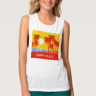 Happy Place Palm Trees & Sunshine Muscle Tank