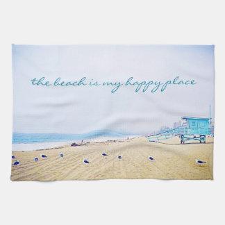 """Happy place"" quote aqua beach photo kitchen towel"