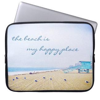 """""""Happy place"""" quote aqua beach photo laptop sleeve"""