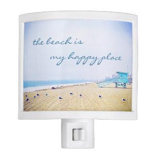"""Happy place"" quote aqua beach photo night light"