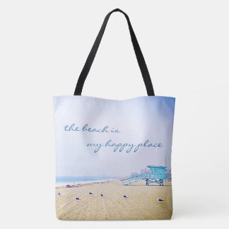 """Happy place"" quote aqua beach photo tote bag"