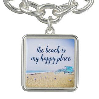 """Happy Place"" Quote Aqua Sky and Sandy Beach Photo Bracelet"