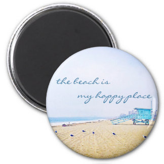 """""""Happy place"""" quote aqua sky and sandy beach photo Magnet"""