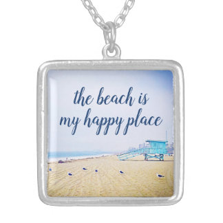 """""""Happy Place"""" Quote Aqua Sky and Sandy Beach Photo Silver Plated Necklace"""