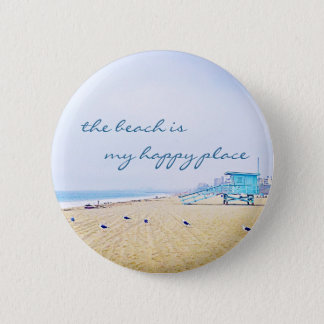 """Happy place"" quote aqua sky & sandy beach photo 2 Inch Round Button"