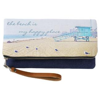 """Happy Place"" Quote Aqua Sky & Sandy Beach Photo Clutch"