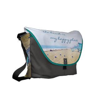 """Happy Place"" Quote Aqua Sky & Sandy Beach Photo Courier Bag"