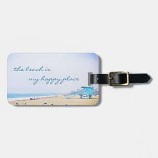 """Happy Place"" Quote Aqua Sky & Sandy Beach Photo Luggage Tag"