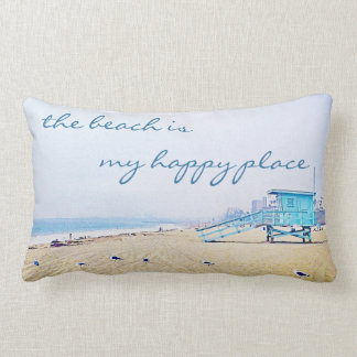 """Happy Place"" Quote Aqua Sky & Sandy Beach Photo Lumbar Pillow"