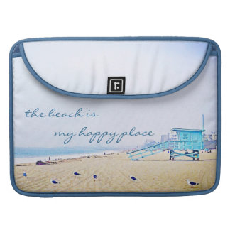 """Happy Place"" Quote Aqua Sky & Sandy Beach Photo Sleeve For MacBook Pro"