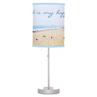 """Happy Place"" Quote Aqua Sky & Sandy Beach Photo Table Lamp"