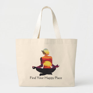 Happy Place Yoga Pose Sunset Large Tote Bag