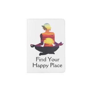 Happy Place Yoga Pose Sunset Passport Holder