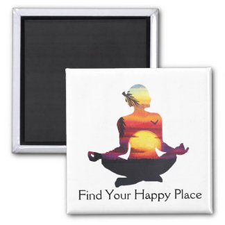 Happy Place Yoga Pose Sunset Square Magnet