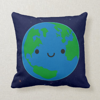 Happy Planet Earth & Saturn (Reversible) Throw Pillow