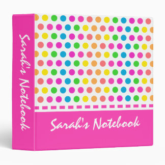 Happy Polka Dot Girl's Back to School Vinyl Binders