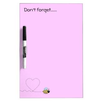 Happy positive bee cartoon pink dry-erase board