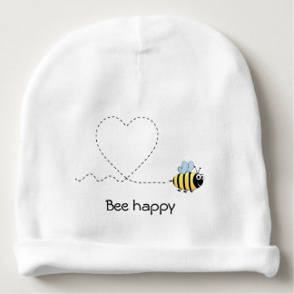 Happy positive bee in love cartoon baby beanie