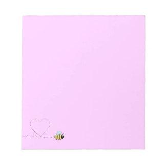 Happy positive bee in love cartoon pink notepad